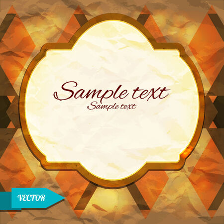 Vintage geometric background with triangles and frame - vector Vector