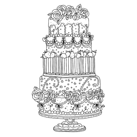 Holiday cake isolated - vector