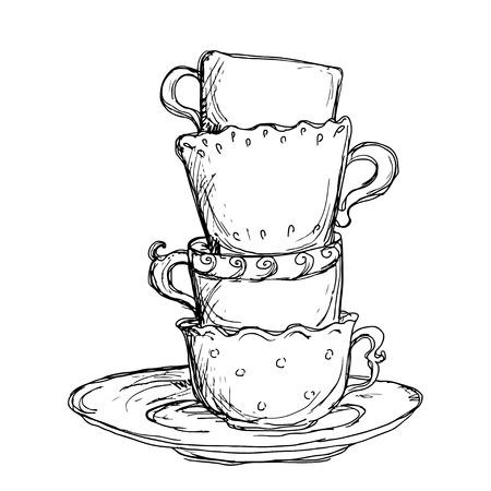 copas: Establecer tazas dibujo y platillo aislados - vector Vectores