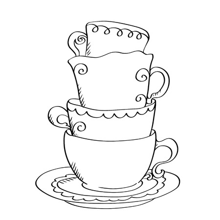 coffeecup: Set sketch cups and saucer isolated - vector