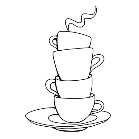 Set sketch cups and saucer isolated - vector Vector