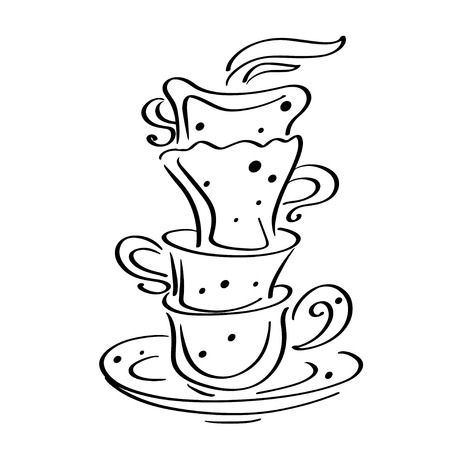 dinnerware: Set sketch cups and saucer isolated - vector