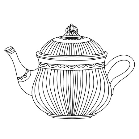 Sketch kettle isolated - vector Vector