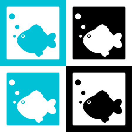 Fish icons set silhouette with bubbles - vector Stock Vector - 23679252