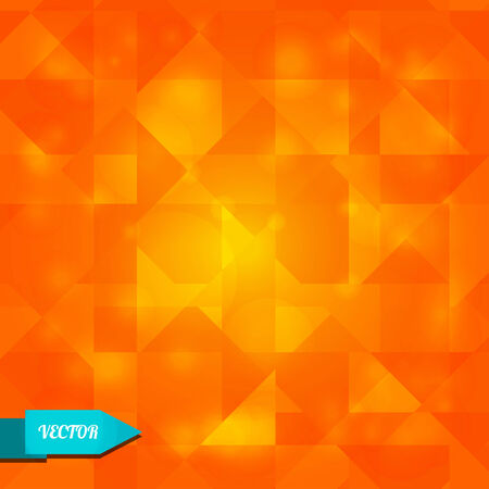 Shining orange geometric background with triangles - vector Vector