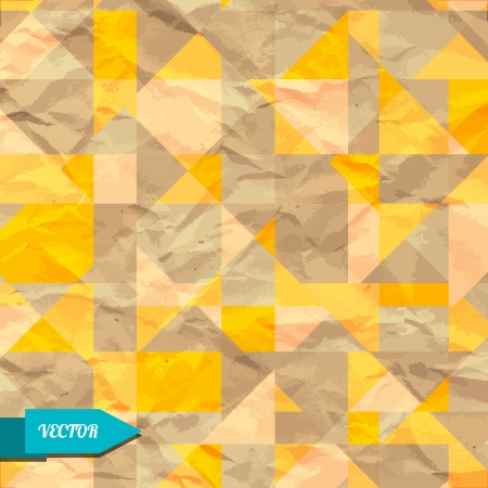 Vintage geometric background with triangles - vector Vector