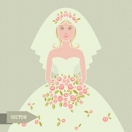 Wedding background with bride - vector Vector
