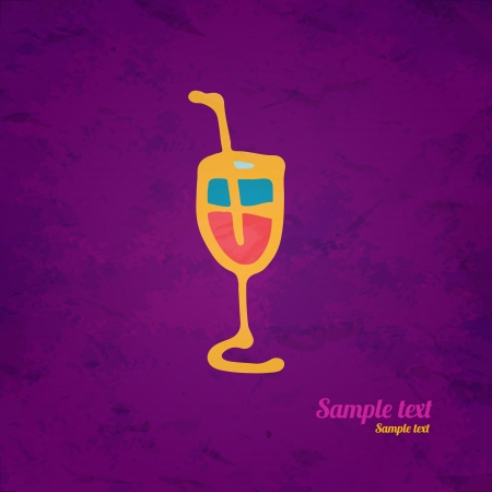Wine glass icon with a straw hand drawing illustration - vector Vector