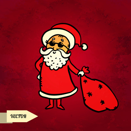 Santa Claus with sack on grunge background hand drawing illustration - vector Vector