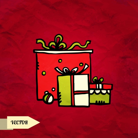 Gifts on grunge background hand drawing illustration - vector Stock Vector - 23763140