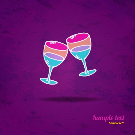 Drinks background,icon wine glasses isolated on grunge paper texture background   Vector