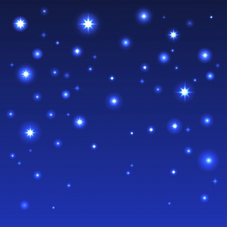 Holiday background with shiny stars in the dark blue sky - vector Vector