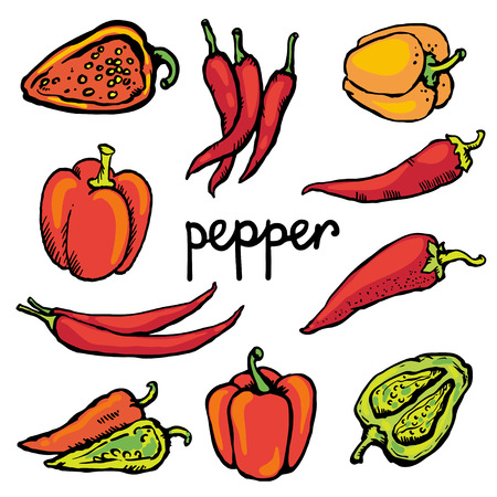 Set color icon red hot chili peppers and bell peppers isolated on white background   Vector