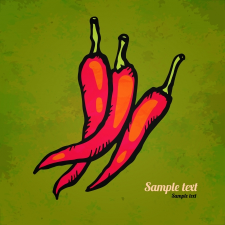 Set red hot chili peppers isolated   Illustration