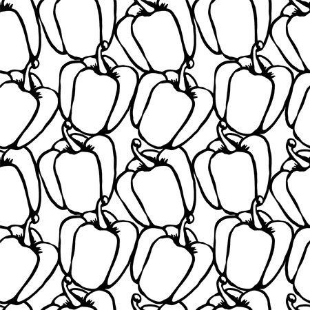 bell pepper: Bell pepper Doodle, cartoon drawing illustration Black and white Seamless pattern Vegetables Food background  - vector