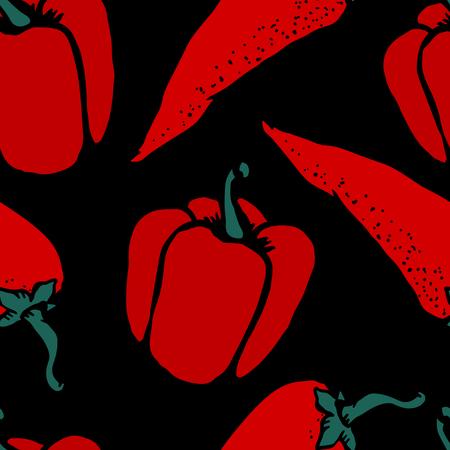 poivre noir: Piment rouge chaud et le poivron Doodle, dessin de bande dessin�e sur le fond noir Seamless l�gumes alimentaire - vecteur Illustration