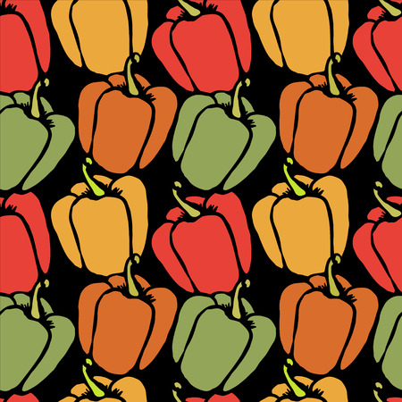 bell pepper: Bell pepper Doodle, cartoon drawing illustration on black background Seamless pattern Vegetables Food background  - vector