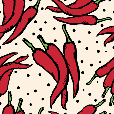 Red hot chili pepper Doodle, cartoon drawing illustration Seamless pattern Vegetables Food background  - vector Vector