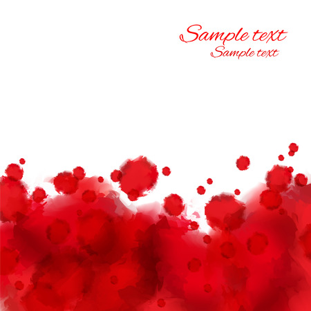 Red grunge watercolor paints spots on a white background Border Space for text -  vector