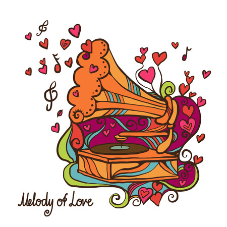Holiday valentine background with gramophone and hearts Vector