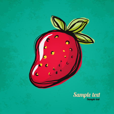 strawberry cartoon: Strawberry isolated Simple sketch icon on grunge paper texture Food Fruit Berry Doodle,cartoon drawing illustration Vintage Retro style - vector