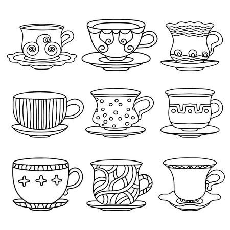 tasse de caf�: Tasse de th�, de caf�, soucoupes, mettre croquis simple ic�ne ligne noire isol� sur fond blanc Doodle, dessin de bande dessin�e de style r�tro Vintage boissons - vecteur