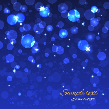 Holiday background with shiny stars in the sky Starry sky Blue, silver color Shiny lights - vector Vector