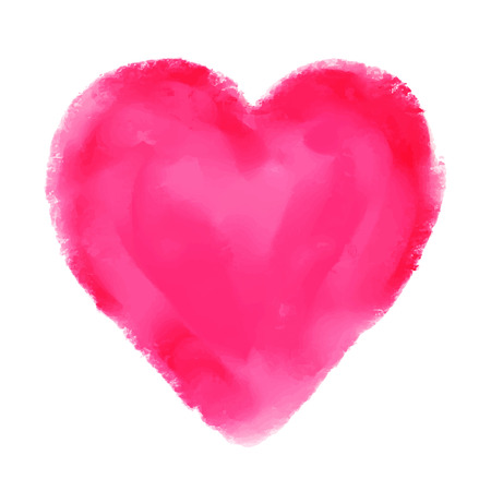Watercolor red heart isolated on white background Holiday Valentines day card Hand painting - vector Vector