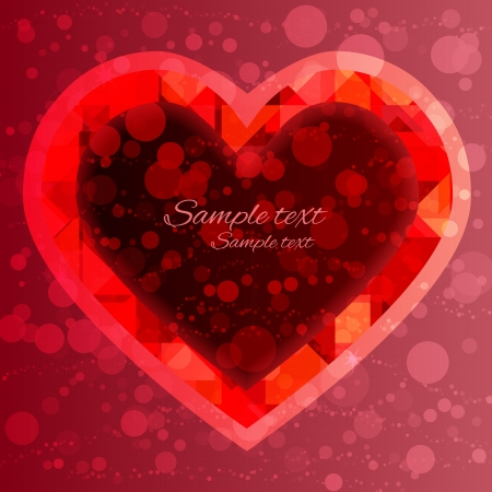 Holiday Valentines day red background with  frame heart and space for text - vector  Vector