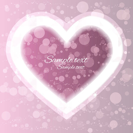 Holiday Valentines day pink background with frame heart and space for text - vector  Vector
