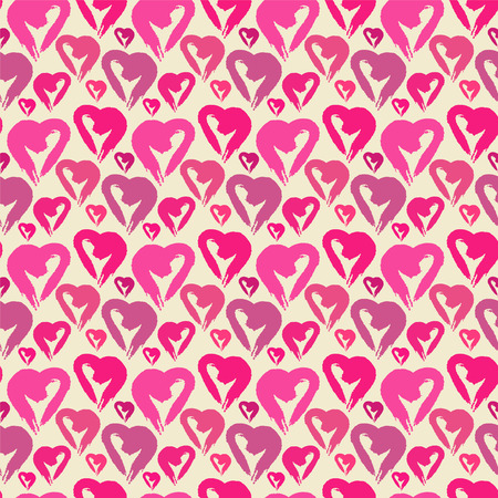 Holiday Valentines day seamless pattern with pink hearts  Simple  Cartoon, doodle style - vector  Vector