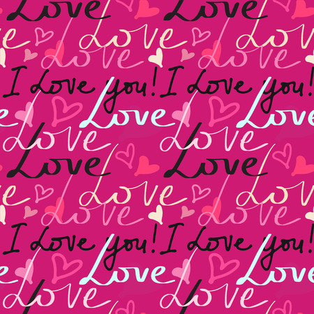 Holiday calligraphical Valentines day seamless pattern  Text I love you and hearts  Doodle style - vector  Vector