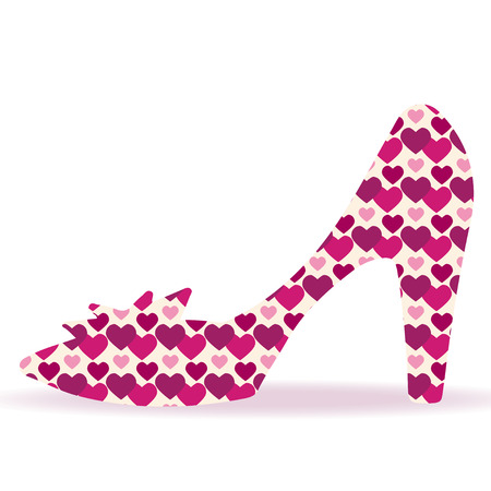 cinderella shoes: Shoes on a high heel silhouette with hearts isolated on a white background - vector Illustration