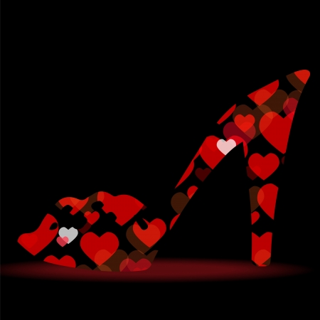 Shiny shoes on a high heel silhouette with hearts isolated on a black background - vector Vector