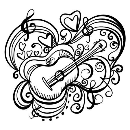 zwart wit tekening: Muziek abstract icoon met de gitaar, harten, muzieknoot, vioolsleutel Zwarte lijnen Hand tekening illustratie Cartoon Doodle Vintage stijl witte achtergrond - vector