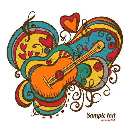 Music abstract icon with the guitar, hearts, musical note, treble clef isolated  Hand drawing illustration  Doodle  Cartoon  Vintage style  White background - vector