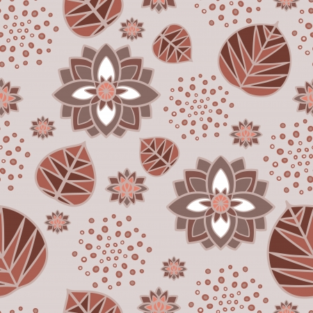 Floral seamless pattern with water lily flowers and leaves Illustration