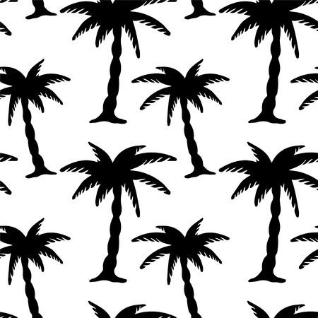 sin fin: Patr�n sin fisuras con las palmeras del coco Imprimir Endless Silueta Textura Ecolog�a Forestal dibujo de la mano del estilo retro de la vendimia - vector Vectores