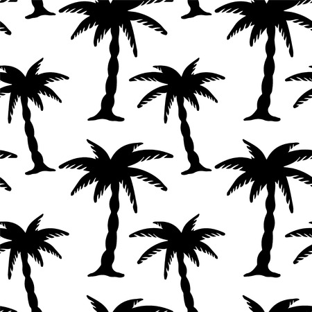 Seamless Pattern with Coconut Palm Trees  Endless Print Silhouette Texture  Ecology  Forest  Hand Drawing  Retro  Vintage Style - vector