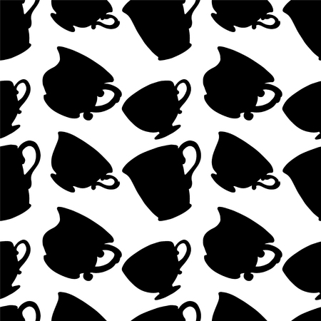dinnerware: Seamless Pattern with Tea   Coffee Cups  Endless Print Texture  Black Silhouette  Drinks  Hand Drawing  Retro  Vintage Style - vector