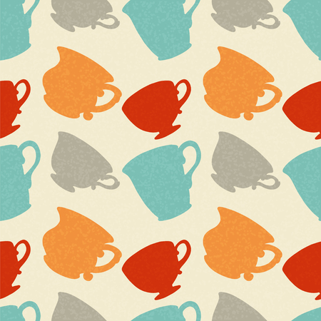 dinnerware: Seamless Pattern with Tea   Coffee Cups  Endless Print Silhouette Texture  Drinks  Hand Drawing  Retro  Vintage Style - vector