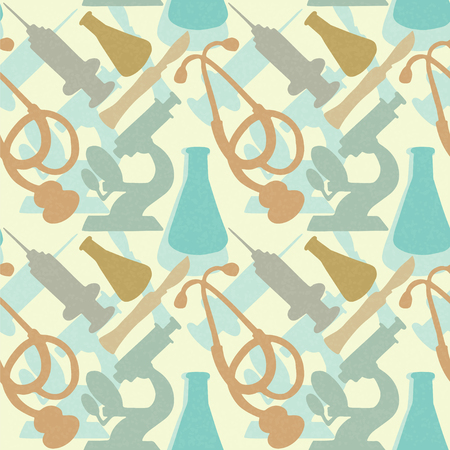 Seamless Pattern with medical instruments  Endless Print Silhouette Texture  Science  Hand Drawing  Retro  Vintage Style - vector Stock Vector - 25272762