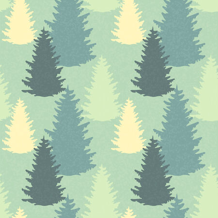 Seamless Pattern with Spruce Trees  Endless Print Silhouette Texture  Ecology  Forest  Hand Drawing  Retro  Vintage Style - vector Vector