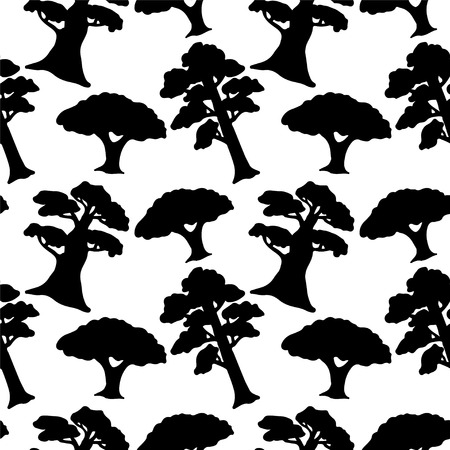 Seamless Pattern with Trees  Endless Print Texture  Black Silhouette  Ecology  Forest  Hand Drawing - vector Vector