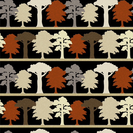 Seamless Pattern with Trees Endless Print Silhouette Texture  Ecology  Forest  Hand Drawing  Retro  Vintage Style - vector Vector