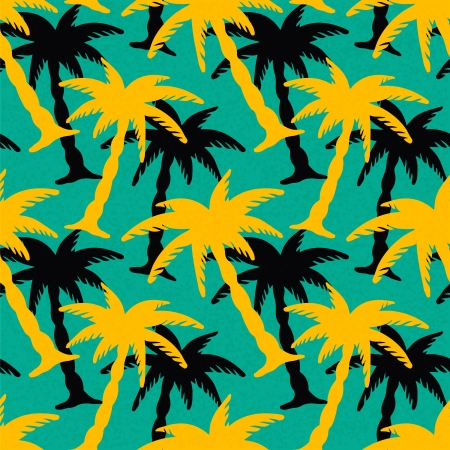 Seamless Pattern with Coconut Palm Trees  Endless Print Silhouette Texture  Ecology  Forest  Hand Drawing  Retro  Vintage Style - vector Vector