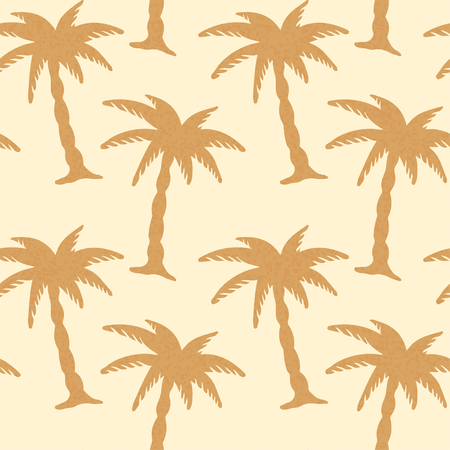coconut tree: Coconut Palm Trees Silhouette Seamless Pattern   Endless Print Background Texture  Ecology  Forest  Hand Drawing  Retro  Vintage Style - vector