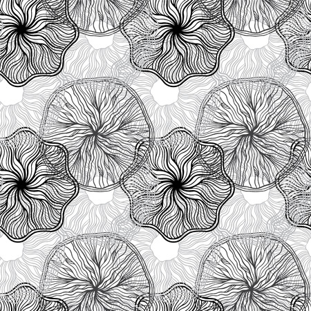 winter flower: Abstract floral monochrome seamless pattern - vector