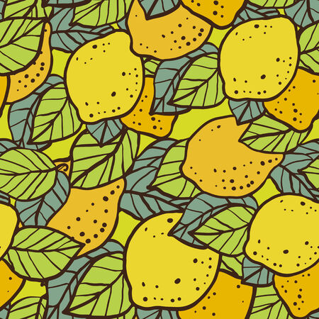 Seamless pattern with lemons and leafs - vector  Vector