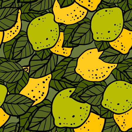 Seamless pattern with lemons and leafs - vector